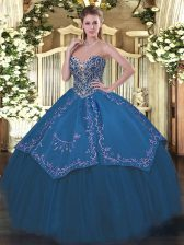 Decent Blue Sleeveless Floor Length Beading and Embroidery Lace Up Quinceanera Dresses