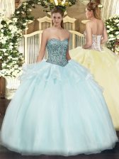 Tulle Sweetheart Sleeveless Lace Up Beading and Ruffles Sweet 16 Quinceanera Dress in Apple Green
