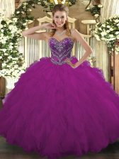 Edgy Tulle Sweetheart Sleeveless Lace Up Beading and Ruffled Layers Sweet 16 Dresses in Fuchsia