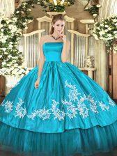 Aqua Blue Zipper 15th Birthday Dress Embroidery Sleeveless Floor Length