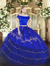 Royal Blue Short Sleeves Floor Length Embroidery and Ruffled Layers Zipper 15 Quinceanera Dress