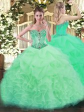 Popular Apple Green Organza Lace Up Sweet 16 Dresses Sleeveless Floor Length Beading and Ruffles and Pick Ups