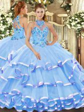 Sleeveless Lace Up Floor Length Beading and Embroidery Sweet 16 Dresses