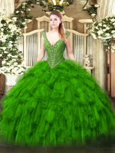 Organza Lace Up Quince Ball Gowns Sleeveless Floor Length Beading and Ruffles