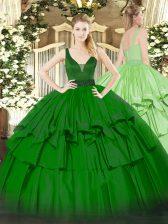 Green Sleeveless Floor Length Beading and Ruffled Layers Zipper 15th Birthday Dress