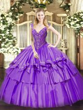 Affordable Ball Gowns Quince Ball Gowns Lavender V-neck Organza and Taffeta Sleeveless Floor Length Lace Up