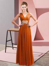 Rust Red Empire V-neck Sleeveless Chiffon Floor Length Side Zipper Beading and Ruching Prom Evening Gown