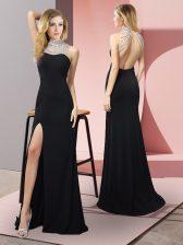Admirable Black Elastic Woven Satin Backless Prom Dresses Sleeveless Floor Length Beading