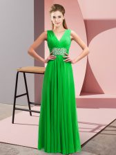 Green Empire Chiffon V-neck Sleeveless Beading and Ruching Floor Length Side Zipper