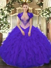 Purple Lace Up Quinceanera Gown Beading and Ruffles Sleeveless Floor Length