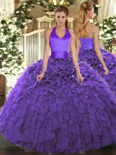Purple Ball Gowns Halter Top Sleeveless Organza Floor Length Lace Up Ruffles Sweet 16 Dress