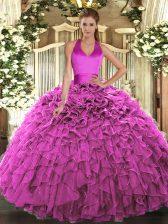 Dramatic Fuchsia Sleeveless Floor Length Ruffles Lace Up Sweet 16 Dress