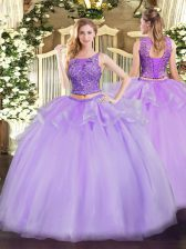 Great Organza Scoop Sleeveless Lace Up Beading Quinceanera Gowns in Lavender