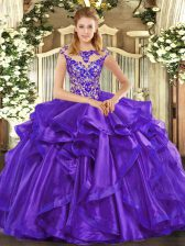 Purple Cap Sleeves Organza Lace Up 15 Quinceanera Dress for Sweet 16 and Quinceanera