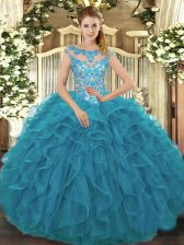 Hot Selling Teal Scoop Neckline Beading and Ruffles 15 Quinceanera Dress Cap Sleeves Lace Up