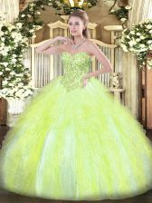 Sweetheart Sleeveless Tulle Ball Gown Prom Dress Appliques and Ruffles Lace Up