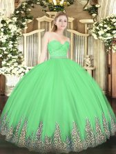 Super Tulle Sleeveless Floor Length 15th Birthday Dress and Beading and Lace and Appliques