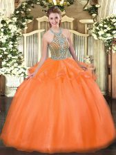 Modest Orange Red Sleeveless Tulle Lace Up Quinceanera Gown for Military Ball and Sweet 16 and Quinceanera
