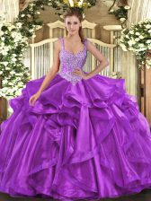 Sleeveless Organza Floor Length Lace Up Sweet 16 Dress in Eggplant Purple with Beading and Ruffles