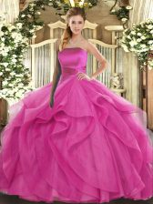 Sleeveless Ruffles Lace Up Quinceanera Gowns