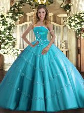 Cheap Tulle Strapless Sleeveless Lace Up Beading and Appliques and Ruffled Layers 15th Birthday Dress in Aqua Blue