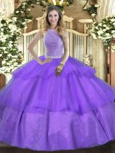 Traditional Lavender Sleeveless Beading and Ruffled Layers Floor Length Sweet 16 Dresses