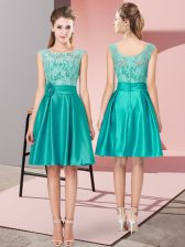 Fine Turquoise Prom Dresses Prom and Party with Lace and Hand Made Flower Bateau Sleeveless Zipper