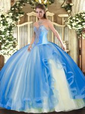 Best Selling Baby Blue Ball Gowns Tulle Sweetheart Sleeveless Beading and Ruffles Floor Length Lace Up Sweet 16 Dress