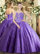 Beauteous Lavender Sweetheart Neckline Beading and Appliques Sweet 16 Quinceanera Dress Sleeveless Lace Up