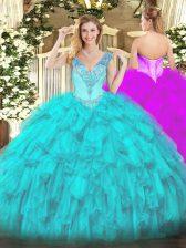 Floor Length Aqua Blue Sweet 16 Dress Organza Sleeveless Beading and Ruffles