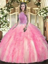 Stunning Sleeveless Tulle Floor Length Lace Up Sweet 16 Dresses in Rose Pink with Beading and Ruffles