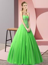 Perfect Green Tulle Lace Up Sweetheart Sleeveless Floor Length Prom Gown Beading