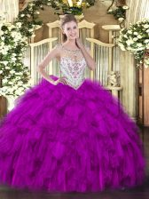Floor Length Zipper 15 Quinceanera Dress Fuchsia for Military Ball and Sweet 16 and Quinceanera with Beading and Ruffles