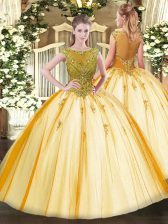 Comfortable Gold Scoop Lace Up Beading Quince Ball Gowns Cap Sleeves