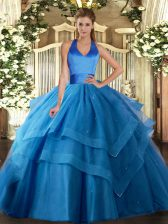 Fine Floor Length Lace Up Quinceanera Dresses Blue for Military Ball and Sweet 16 and Quinceanera with Ruffled Layers