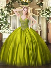 Olive Green Quinceanera Dresses Military Ball and Sweet 16 and Quinceanera with Beading V-neck Sleeveless Lace Up
