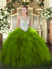 Exceptional Green Quinceanera Dresses Military Ball and Sweet 16 and Quinceanera with Beading and Ruffles Scoop Sleeveless Zipper