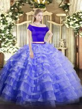 Blue 15th Birthday Dress Military Ball and Sweet 16 and Quinceanera with Appliques and Ruffled Layers Off The Shoulder Short Sleeves Zipper