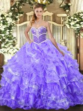 Sweetheart Sleeveless Lace Up Quinceanera Gowns Lavender Organza