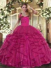 Fuchsia Halter Top Lace Up Ruffles Quinceanera Dress Sleeveless
