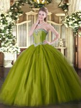 Luxurious Olive Green Tulle Lace Up Sweet 16 Dresses Sleeveless Floor Length Beading