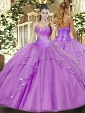 Hot Selling Lavender Sweet 16 Dresses Military Ball and Sweet 16 and Quinceanera with Beading and Ruffles Sweetheart Sleeveless Side Zipper