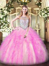Floor Length Ball Gowns Sleeveless Lilac Quince Ball Gowns Zipper