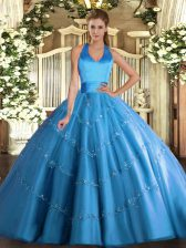 Floor Length Lace Up Quinceanera Dresses Baby Blue for Military Ball and Sweet 16 and Quinceanera with Appliques