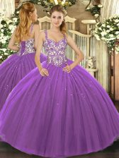 New Arrival Sleeveless Lace Up Floor Length Beading and Appliques Sweet 16 Quinceanera Dress