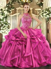 Unique Sleeveless Floor Length Beading and Embroidery and Ruffles Lace Up Vestidos de Quinceanera with Fuchsia