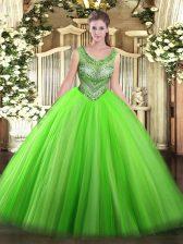 Elegant Floor Length 15th Birthday Dress Scoop Sleeveless Lace Up