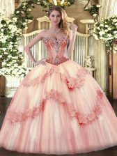 Smart Ball Gowns Sleeveless Baby Pink Sweet 16 Dresses Lace Up