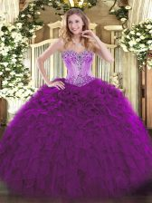Eggplant Purple Sleeveless Beading and Ruffles Floor Length Sweet 16 Quinceanera Dress