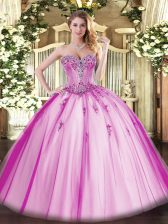 Noble Fuchsia Sweetheart Lace Up Beading and Appliques Ball Gown Prom Dress Sleeveless